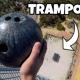 地上45mの高さからトランポリンめがけてボーリング玉を落としてみた!