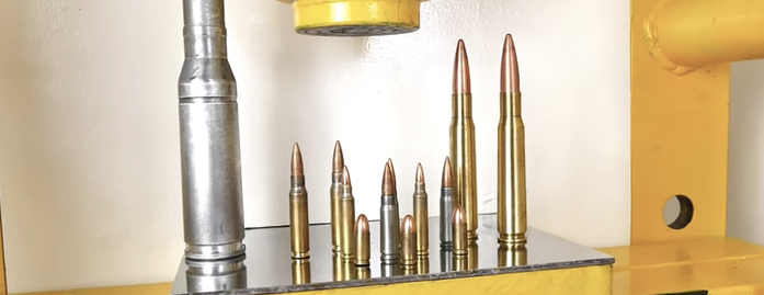 【実験】いろんな口径の銃弾は油圧式プレスで押し潰せるのか!? 実験してみた!