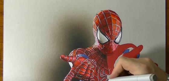 あまりにもリアル! 実物にしか見えないスパイダーマンが描かれていく早回し!