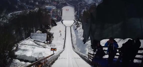 【スキージャンプ】世界記録更新時の選手のヘルメットカム映像!