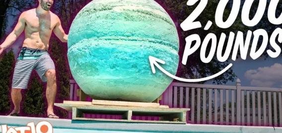 【実験】重さ900キロの炭酸入浴剤をプールに入れてみた結果!?