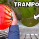 【実験】165mの高さからトランポリンの上にボーリング玉を落としてみた!